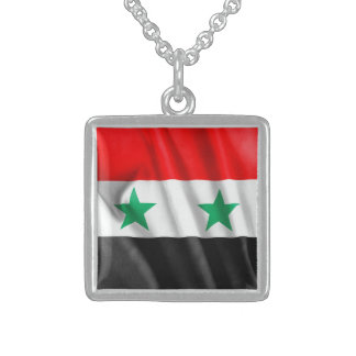 Syria Flag Sterling Silver Square Necklace