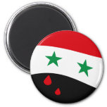 Syria Flag waving with blood red tears Magnet