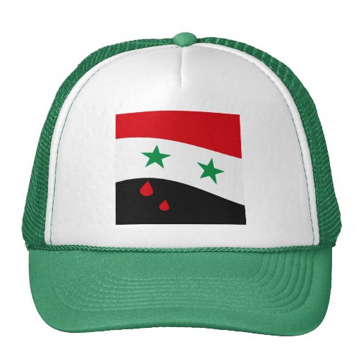 Syria Flag waving with blood red tears Mesh Hat