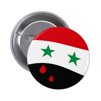 Syria Flag waving with blood red tears Pinback Button