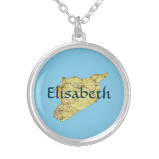 Syria Map + Name Necklace