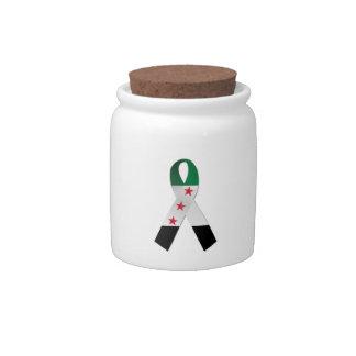 Syria National Flag Awareness Ribbon Candy Jar