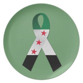 Syria National Flag Awareness Ribbon Plate at Zazzle