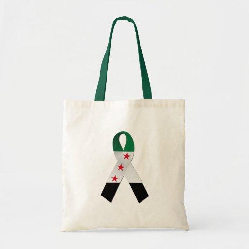 Syria National Flag Ribbon Canvas Tote Bag
