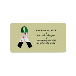 Syria National Flag Ribbon Name Address Gift Tag at Zazzle