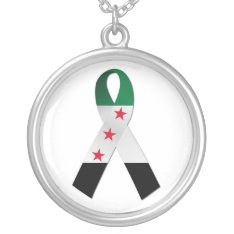 Syria National Flag Ribbon Silver Necklace at Zazzle