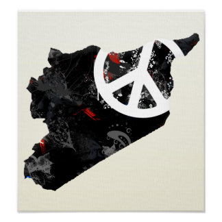 Syria Trendy Peace Sign with Syrian map
