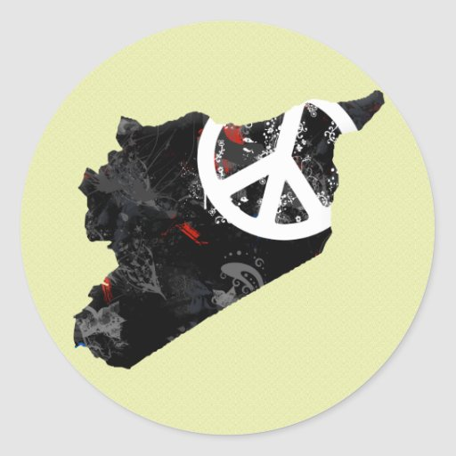 Syria Trendy Peace Sign with Syrian map Classic Round Sticker