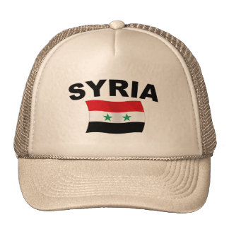 Syria Wavy Flag - Black Letters Trucker Hat