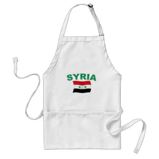 Syria Wavy Flag - Green Letters Adult Apron