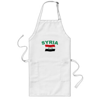 Syria Wavy Flag - Green Letters Long Apron
