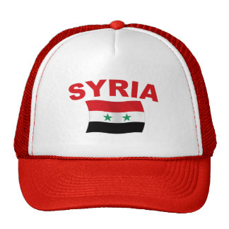 Syria Wavy Flag (Red Letters) Trucker Hat