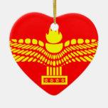 Syriac Aramaic People, Syria flag Double-Sided Heart Ceramic Christmas Ornament