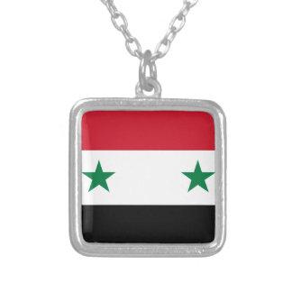 Syrian Arab Republic Flag - Flag of Syria Silver Plated Necklace