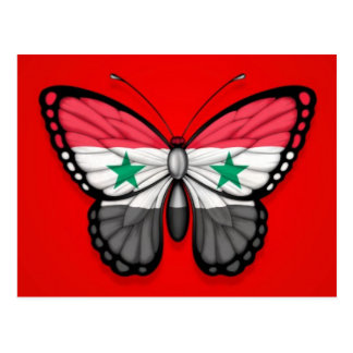 Syrian Butterfly Flag on Red Postcard