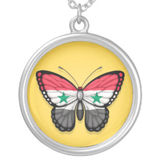 Syrian Butterfly Flag on Yellow Personalized Necklace
