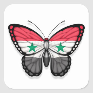 Syrian Butterfly Flag Square Sticker
