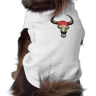 Syrian Flag Bull Skull Pet T-shirt