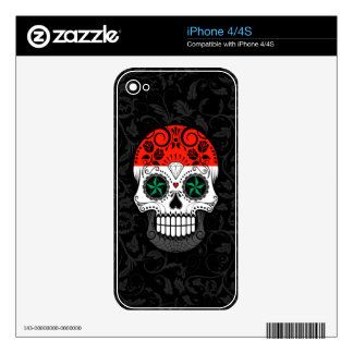 Syrian Flag Sugar Skull with Roses iPhone 4 Skin