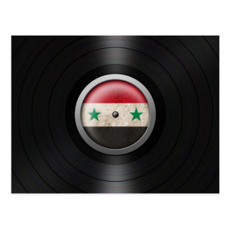 Syrian Flag Vinyl Record Album Graphic Postcard