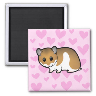 Syrian Hamster Love 2 Inch Square Magnet