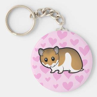 Syrian Hamster Love Basic Round Button Keychain