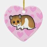 Syrian Hamster Love Double-Sided Heart Ceramic Christmas Ornament