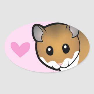 Syrian Hamster Love Oval Sticker