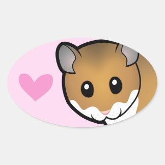 Syrian Hamster Love Oval Sticker