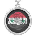 Syrian Rose Flag on Black Round Pendant Necklace