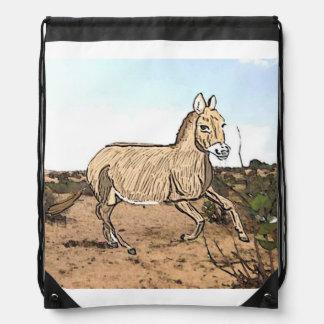 Syrian Wild Donkey (Equus hemionus hemippus) Drawstring Bag