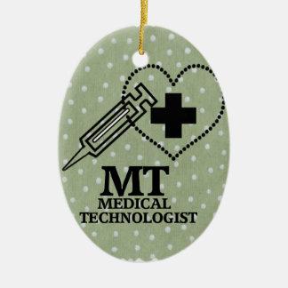 SYRINGE HEART LOGO FOR MT MEDICAL TECHNOLOGIST CERAMIC ORNAMENT
