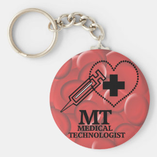 SYRINGE HEART LOGO FOR MT MEDICAL TECHNOLOGIST KEYCHAIN