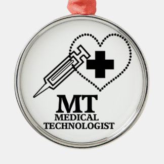 SYRINGE HEART LOGO FOR MT MEDICAL TECHNOLOGIST METAL ORNAMENT
