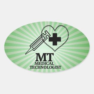 SYRINGE HEART LOGO FOR MT MEDICAL TECHNOLOGIST OVAL STICKER