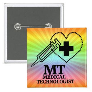 SYRINGE HEART LOGO FOR MT MEDICAL TECHNOLOGIST PINBACK BUTTON