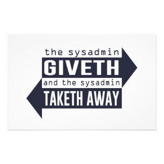 Sysadmin Giveth y Taketh lejos Papeleria De Diseño