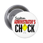 System Administrator's Chick Pinback Buttons