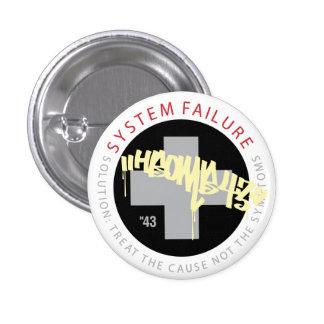 System Cross - Black 1 Inch Round Button