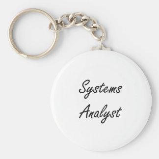 Systems Analyst Artistic Job Design Basic Round Button Keychain