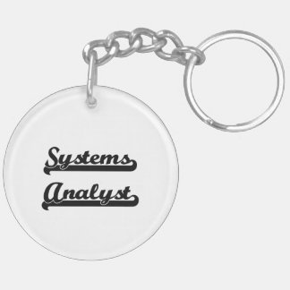 Systems Analyst Classic Job Design Double-Sided Round Acrylic Keychain