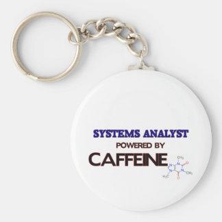 Systems Analyst Powered by caffeine Basic Round Button Keychain