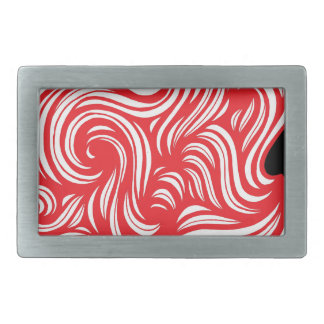 Szady Abstract Expression Red White Black Rectangular Belt Buckles