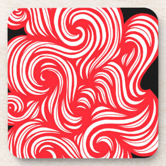 Szady Abstract Expression Red White Black Drink Coasters