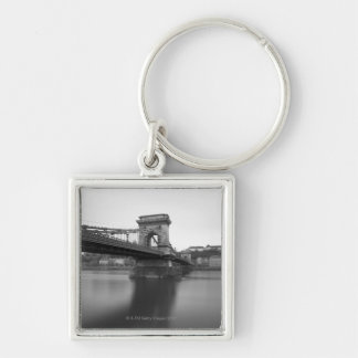 Szechenyi Chain Bridge and Danube Silver-Colored Square Keychain