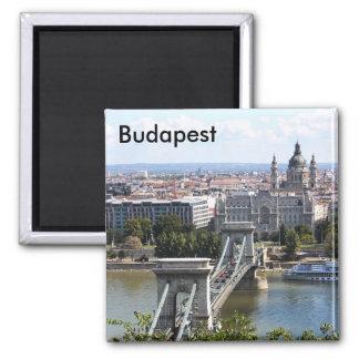 Szechenyi Chain Bridge, Budapest, Hungary, Buda... 2 Inch Square Magnet
