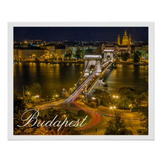 Szechenyi Chain Bridge Budapest, Hungary Poster