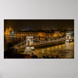 Széchenyi Chain Bridge in Budapest, Hungary Poster
