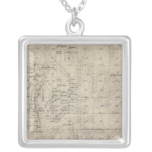 T1415S R2829E Tulare County Section Map Square Pendant Necklace