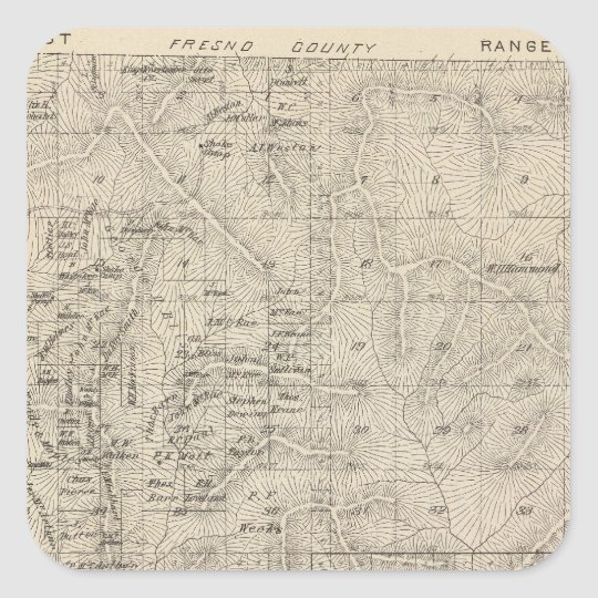 T1415S R2829E Tulare County Section Map Square Sticker